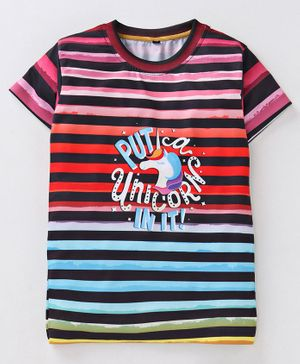 Amigos Striped Half Sleeves T-Shirt - Multicolor