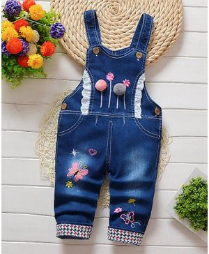 Pre Order - Awabox Full Length Butterfly Embroidered Denim Dungaree - Blue