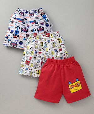 Teddy Shorts Car & Robot Print Set of 3 - White Red