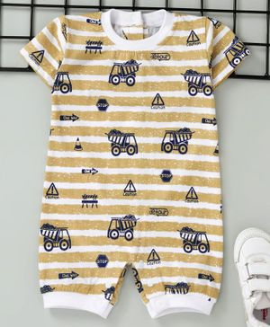 Little Kangaroos Half Sleeves Romper Allover Print - Fawn