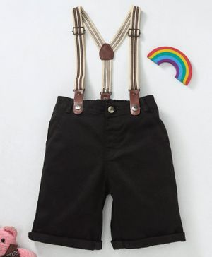 GJ Baby Shorts With Suspenders Solid Colour - Black