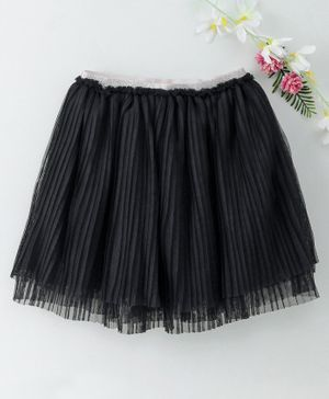 Babyhug Flare Skirt With Shimmery Elasticated Waistband - Black