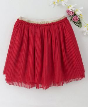 Babyhug Flare Skirt With Shimmery Elasticated Waistband - Red