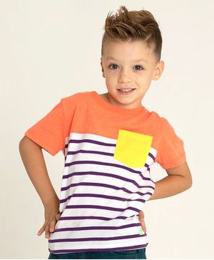 Cherry Crumble by Nitt Hyman Half Sleeves Striped Tee With Front Pocket - Orange