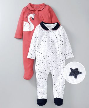Babyoye Full Sleeves Footed Cotton Sleepsuits Star & Swan Print Pack of 2 - White Coral