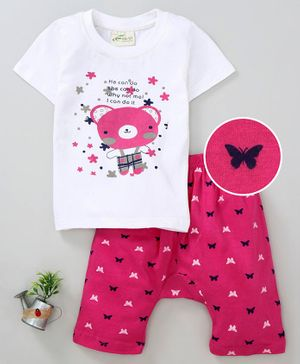Earth Conscious Teddy Bear Print Half Sleeves T-Shirt  & Shorts Set - White & Pink