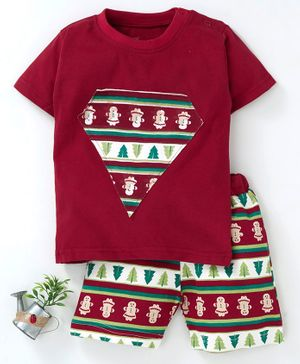 Earth Conscious Tree Printed Half Sleeves T-Shirt & Shorts Set  - Red