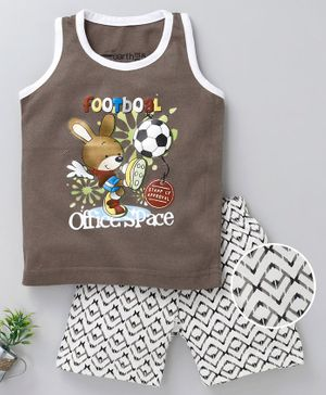 Earth Conscious Rabbit Printed Sleeveless T-Shirt & Shorts Set - Dark Grey