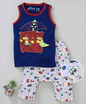 Earth Conscious Bear Printed Sleeveless T-Shirt & Pant Set -  Blue & White
