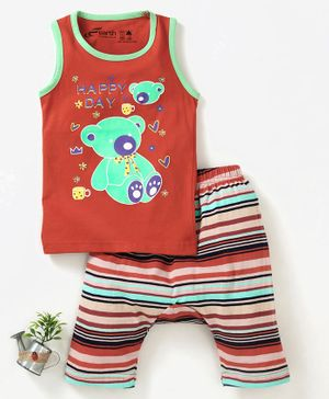 Earth Conscious Teddy Bear Print Sleeveless T-Shirt & Pant Set - Orange
