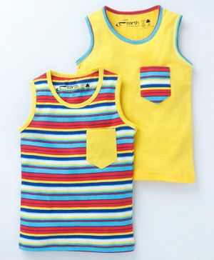 Earth Conscious Combo Of 2 Striped Sleeveless T-Shirt - Multicolor & Yellow