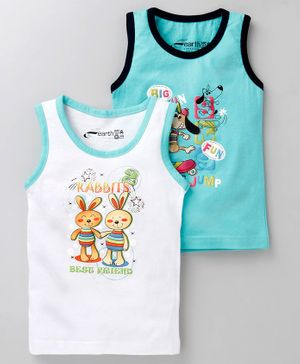 Earth Conscious Combo Of 2 Rabbit Print Sleeveless T-Shirt - White & Blue