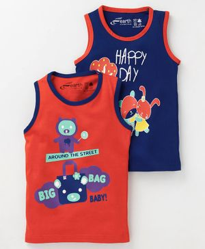 Earth Conscious Combo Of 2 Printed Sleeveless T-Shirt - Blue & Orange