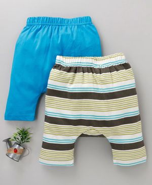Earth Conscious Combo Of 2 Striped Pants  - Blue