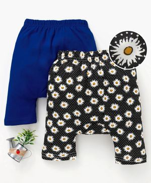 Earth Conscious Combo Of 2 Flower Print Pants - Blue & Black