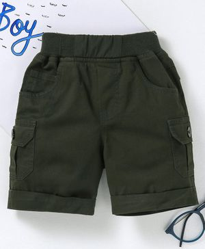 Jash Kids Solid Color Mid Thigh Length Shorts - Olive Green