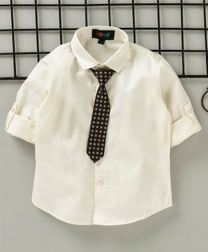 Robo Fry Full Sleeves Party Wear Solid Color Shirt With Tie - Cream