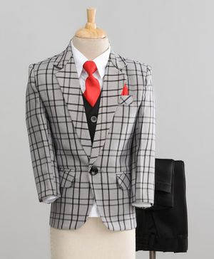 Jeet Ethnics Full Sleeves Checked 4 Piece Party Suit With Tie - Grey