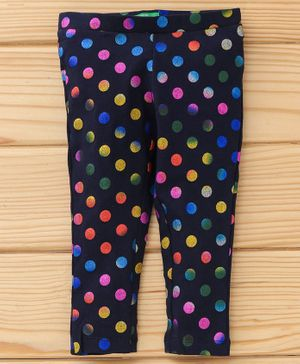 UCB Full Length Polka Dotted Leggings - Navy Blue