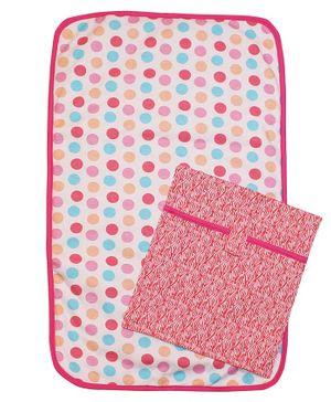 Kadam Baby Diaper Changing Mat With Pouch Polka Dots Print - Pink