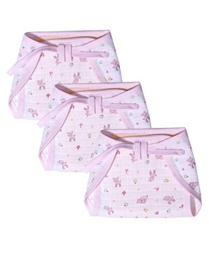 Kadam Baby Nappy Deer Print Pack of 3 Extra Large - Pink
