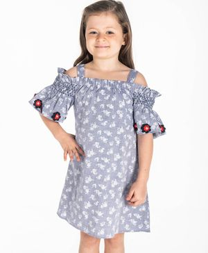 Cherry Crumble by Nitt Hyman Half Sleeves Flower Print Cold Shoulder Dress - Blue