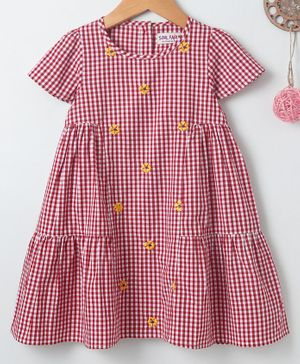 Soul Fairy Checkered Short Sleeves Dress - Red & White