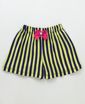 Crayonflakes Striped Elasticated Bow Applique Shorts - Yellow & Blue