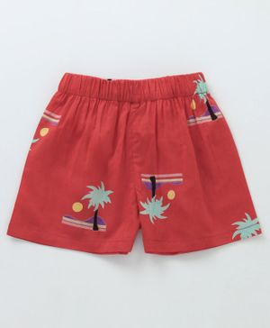 Crayonflakes Beach Theme Printed Shorts - Red