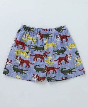 Crayonflakes Tiger & Crocodile Print Elasticated Shorts - Blue