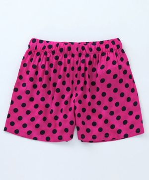 Crayonflakes Dots Printed Elasticated Shorts - Dark Pink
