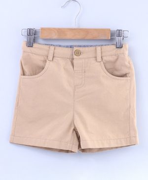 Beebay Solid Button Closure Shorts - Light Brown
