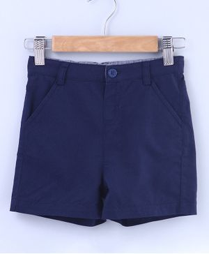Beebay Solid Knee Length Shorts With Front Pockets - Navy Blue