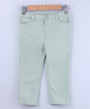Beebay Full Length Solid Trousers With Front Pockets - Green