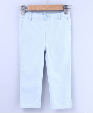 Beebay Full Length Solid Trousers With Front Pockets - Light Blue