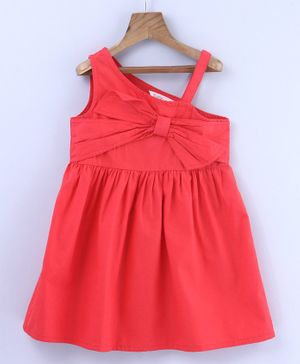 Beebay Front Bow Sleeveless Rust Dress - Red