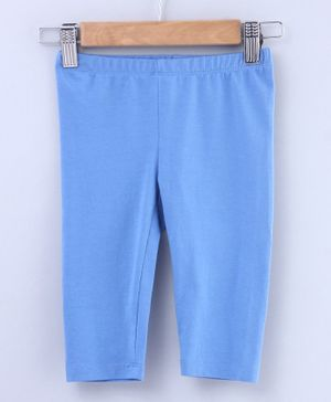 Beebay Three Fourth Length Solid Leggings - Blue