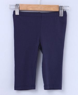 Beebay Solid Three Fourth Length Leggings - Navy Blue