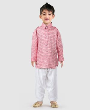 Ethnik's Neu Ron Full Sleeves Checked Kurta & Pyjama Set - Coral