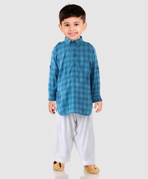 Ethnik's Neu Ron Full Sleeves Checked Kurta & Pyjama Set - Blue