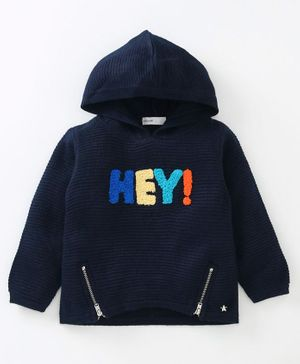 Babyoye Full Sleeves Hey Embroidered Hooded Sweater - Navy Blue