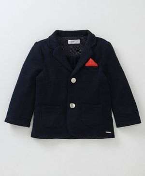 Babyoye Cotton Knit Full Sleeves Blazer - Navy Blue