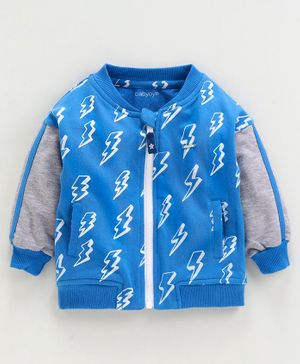 Babyoye Full Sleeves Cotton Sweatshirt Thunder Print - Royal Blue