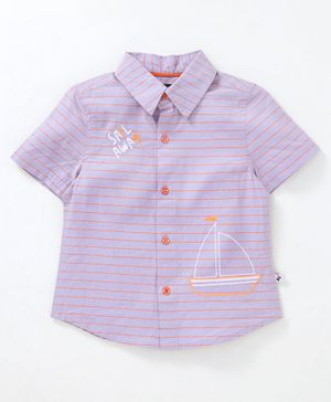 Nauti Nati Striped Half Sleeves Shirt - Light Purple