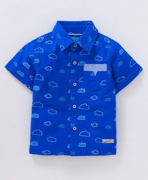Nauti Nati Half Sleeves Cloud Print Shirt - Royal Blue