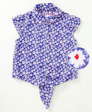 Nauti Nati Flower Print Cap Sleeves Shirt - Blue