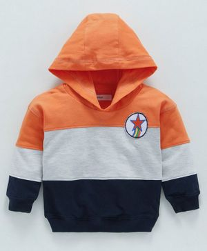 Babyoye Cotton Hooded Sweatshirt Star Patch - Orange