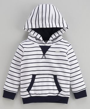 Babyoye Full Sleeves Hooded Sweatshirt Stripes Print - White