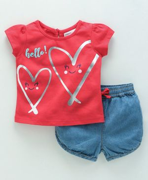 Babyoye Short Sleeves Tee & Denim Shorts Set Heart Print - Pink Blue