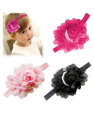Bembika Baby Girls Flower Lace Headbands Set of 3 - Multicolour